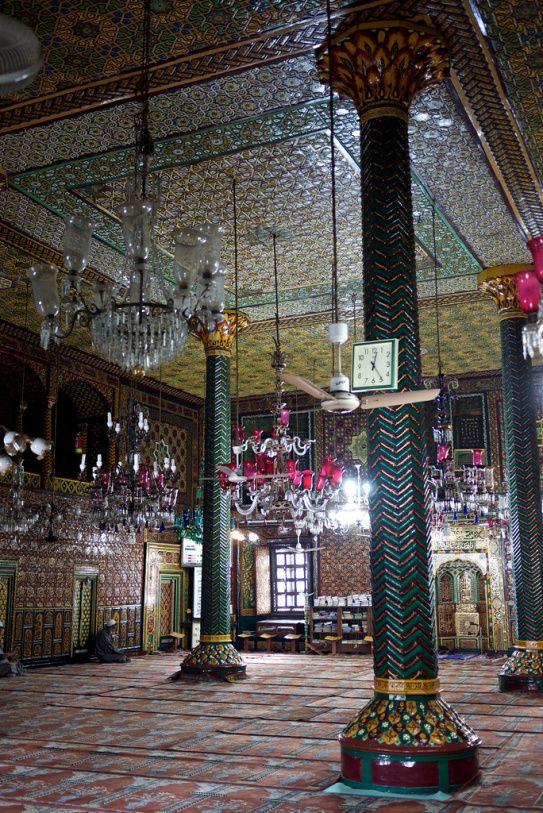 huge glass chandeliers inside a Sufi shrine in srinagar http://ihimalayan.wordpress.com/2014/08/13/srinagar-tourism-a-tour-of-the-city/