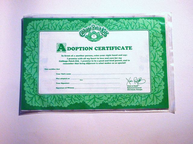 Cabbage patch kids adoption certificate diy pinterest for Cabbage patch adoption certificate template