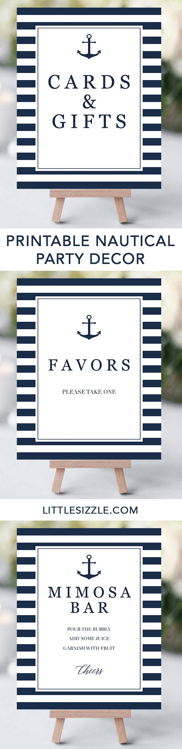 Nautical party decor ideas by LittleSizzle. Printable nautical themed party decorations and navy signs. Click through to instantly download your own navy stripes decor or re-pin for later! These stylish navy and white baby shower signs will add a really great touch to your navy themed baby shower to welcome a baby boy. Or decorate your anchor themed party with these anchor signs. Cards and Gifts sign, party Favors sign, Mimosa Bar sign and more! #decor #printable #nautical #boy…