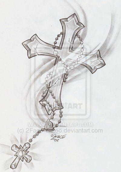 Rosary Cross Shine Tattoo by 2Face-Tattoo.deviantart.com