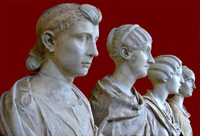 Portrait heads of Roman women of early imperial period. Musei Vaticani, Rome