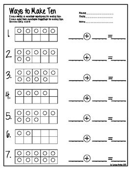 Tens Frame Equations and Missing Numbers