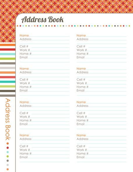 529 best Planner Books images on Pinterest Binder covers - name and phone number template