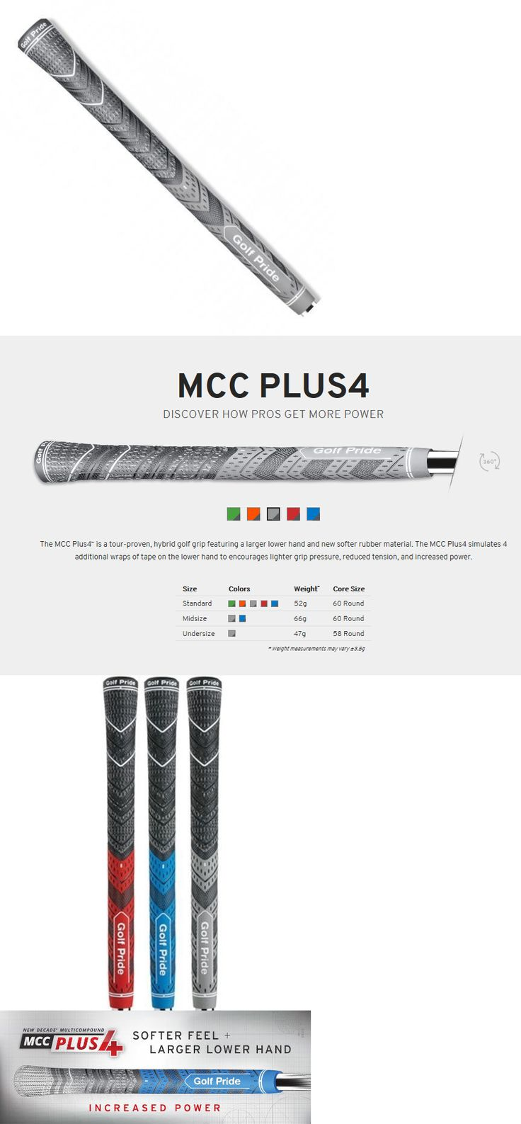 Golf Club Grips 47324: (8) New Decade Multicompound Golf Pride Mcc Plus4 +4 Golf Grips Standard -Grey- -> BUY IT NOW ONLY: $60.99 on eBay!