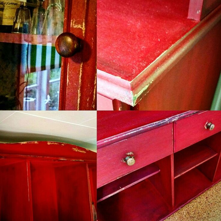 """Old kitchen cabinet transformed with Miss Mustard Seed's """"Tricycle"""" and Antique Wax.."""