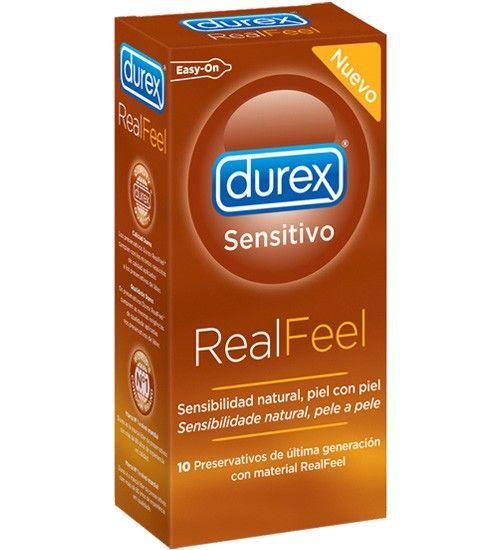 Preservativo Durex Real Feel - Preservativos de última generación con material RealFeel. •Preservativos de material sintético, sin látex. •Clínicamente probados. •Transparentes y lubricados. •Forma anatómica Easy-On con depósito. •Anchura nominal: 56mm.