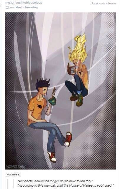 PERCY: Annabeth, how much longer do we have to fall for. ANNABETH: According to this manual untill the House of Hades is published.