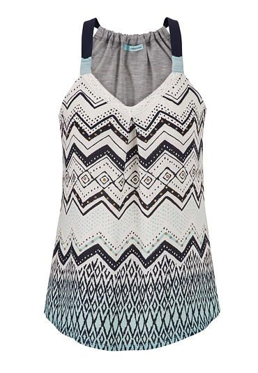tank with ethnic patterned chiffon front in multi (original price, $29) available at #Maurices