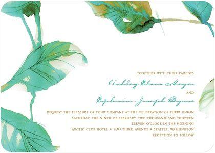 Watercolor Wedding Invitations http://www.weddingpaperdivas.com/product/9920/signature_white_textured_wedding_invitations_illusive_leaves.html?SSAID=523145&CID=AFF-SAS-WPD-523145-184906&SSAIDDATA=SSCID_81jy_et32o#color/01/pid/9920