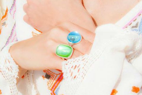 What about the blue and green crystal for the Boheme ring by Lilou? #lilou #ring #Boheme #crystal #blue #green