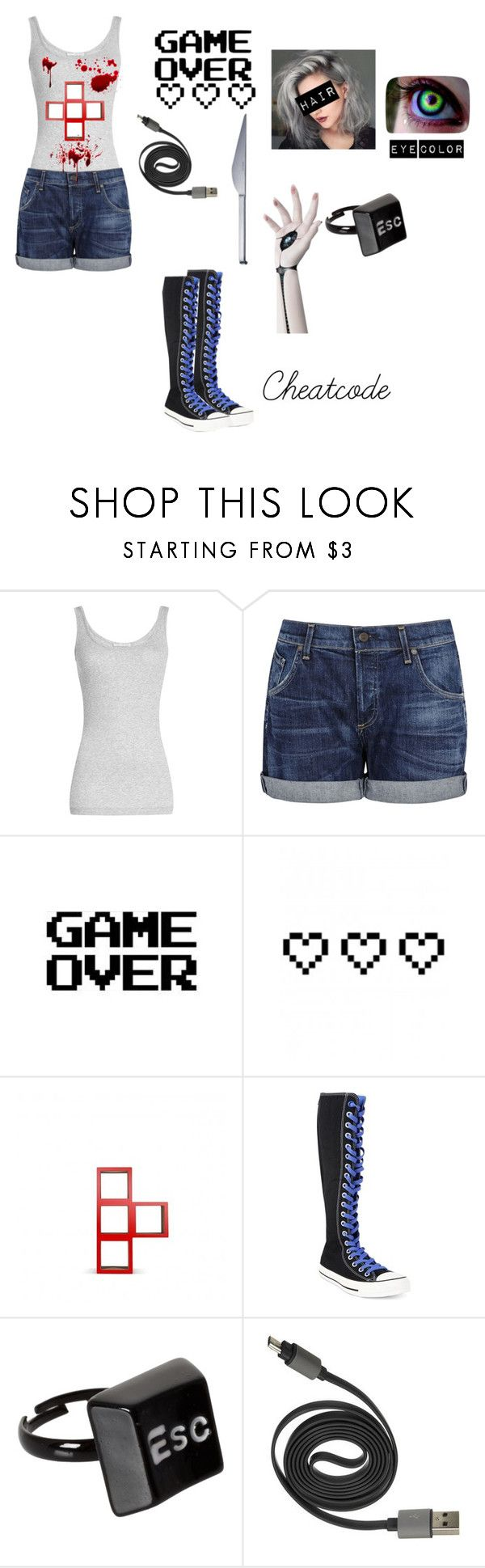"""""""Creepypasta Next Gen: Cheatcode"""" by sirengem ❤ liked on Polyvore featuring Vince, Citizens of Humanity, WALL, Retrò, Converse, ASOS and Mono"""