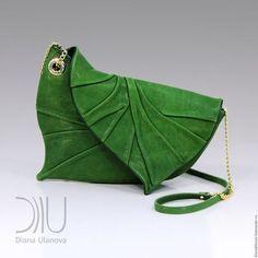 Женские сумки ручной работы. Ярмарка Мастеров - ручная работа. Купить Лист клатч. Handmade. Зеленый, однотонный, Кожаная сумка