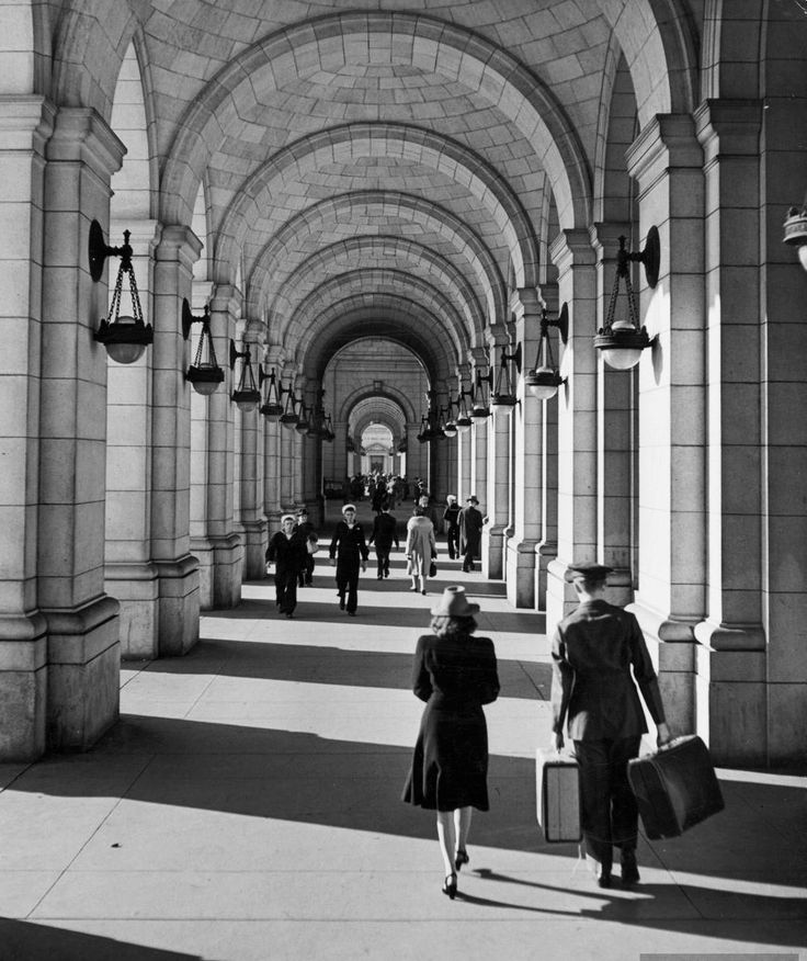 An arched walkway in front of Union Station. Photograph by Alfred Eisenstaedt. Washington, DC, USA, 1943.