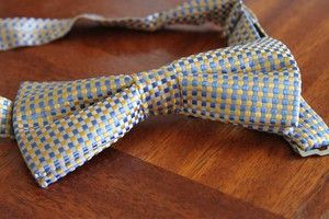 Yellow and blue chequered silk bow tie