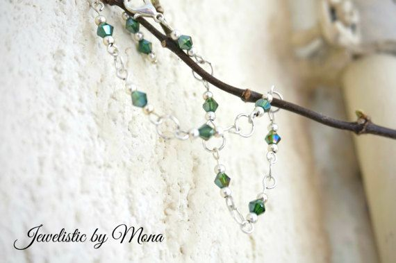Elegant and dainty links and green crystals by JewelisticbyMona