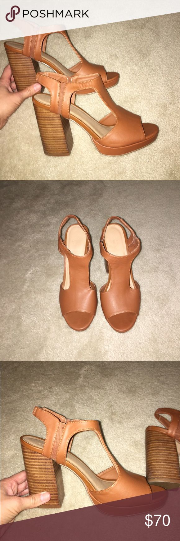 Urban outfitters heels! Light brown heels, so easy to walk in and only worn once! Slightly too small on me otherwise I would keep them! Great condition, definitely willing to negotiate! Urban Outfitters Shoes Heels
