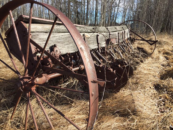 Picture from the original homestead in High Prairie, Alberta where my pieces are salvaged from. This is the old seed drill.