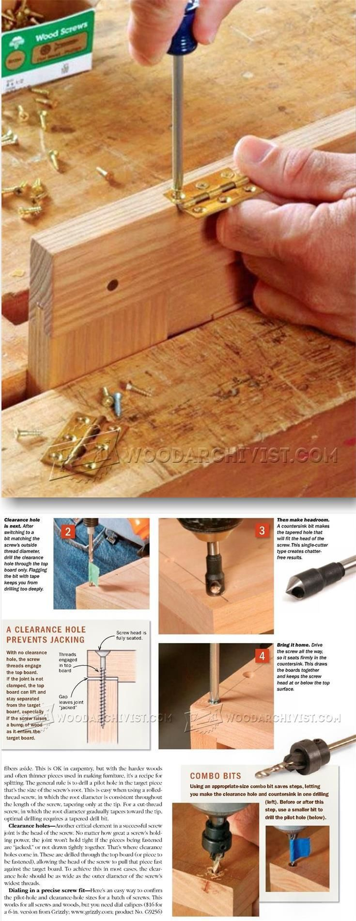 Wood Screw Basics - Joinery Tips, Jigs and Techniques | WoodArchivist.com