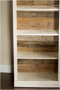 pallet-backed ikea bookshelf