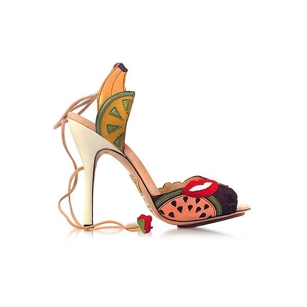 Charlotte Olympia Shoes Fruit Salad Multicolor Suede Sandal ($470) ❤ liked on Polyvore featuring shoes, sandals, multicolor, high heeled footwear, open toe shoes, colorful sandals, open toe high heel sandals and multi color sandals