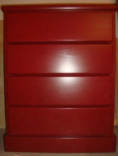 Four Drawer Dresser Refinished In General Finishes Tuscan Red Milk Paint.  SOLD!!! Unfinished Furniture ...