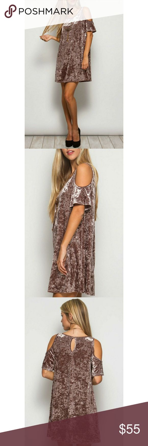 """Velvet Underground Dress This velvet cold shouldered dress is made to stand out! The color is a gorgeous dusty mauve. Keyhole back with button closure.  60% cotton, 40% rayon.  Bust: 16"""" Length from shoulder: 33""""  Price is firm unless bundled. She and Sky Dresses Mini"""