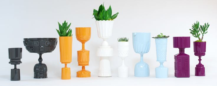 Carl and Rose, vessels made of vintage glass