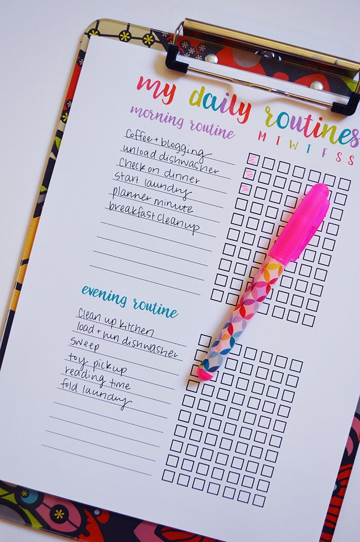 Starting Daily Routines Printable