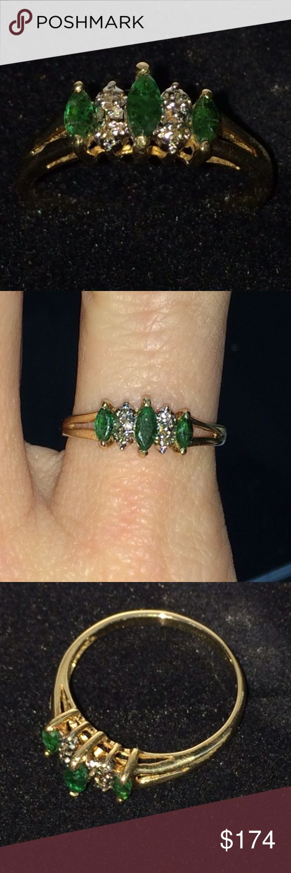 10k gold Emerald & Diamond Ring Gorgeous 10k gold ring with .5ctw emeralds & diamonds. Beautiful Zambian emeralds with three phase inclusions. Approximately size 6.5-6.75. Jewelry Rings