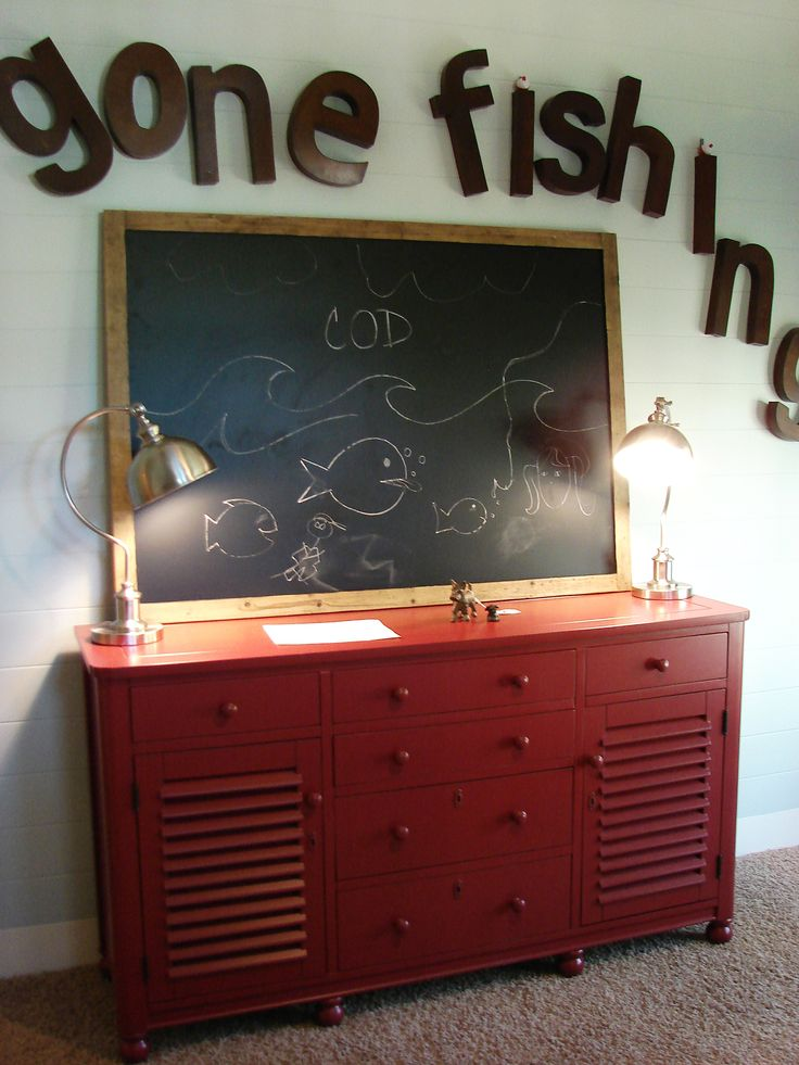 fishing decor for boys room | The boys room had a wonderful fishing theme, with industrial lights ...