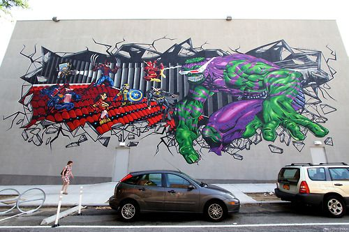 After weeks of work, Italian born artist Federico Massa's (aka CRUZ) epic mural at Williamsburg Cinemas is finally finished. This massive mural, featuring hybrid superheroes, is an incredible sight to see.