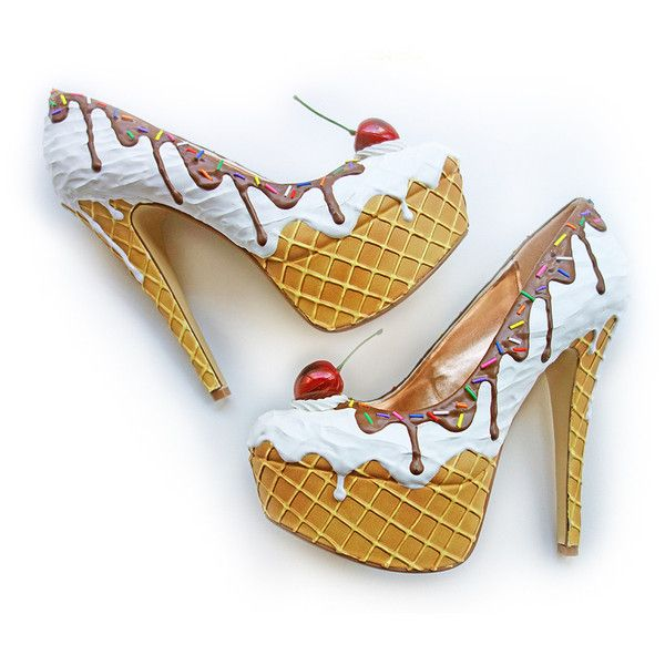 Premium Ice Cream Heels ❤ liked on Polyvore featuring shoes, pumps, mid-heel shoes, cream pumps, mid heel platform pumps, platform pumps and cherry shoes