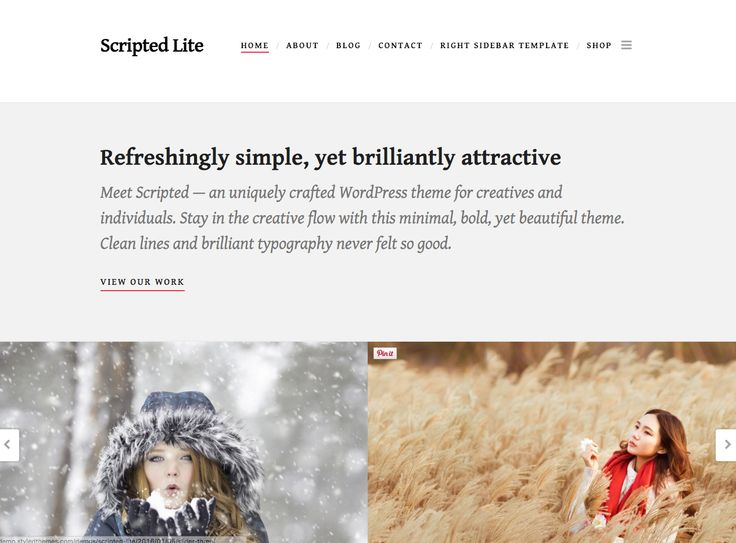 The Scripted Lite free WordPress theme. More info: http://curatable.net/20-free-wordpress-themes-i-would-actually-use-to-start-a-new-blog-in-2016/