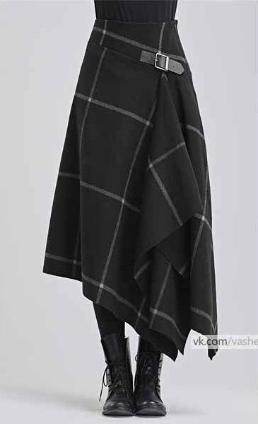Modern take on a kilt in black with white windowpa…