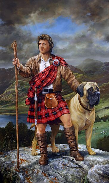 Scottish Highlander and Mastiff by Mark A. Kelso