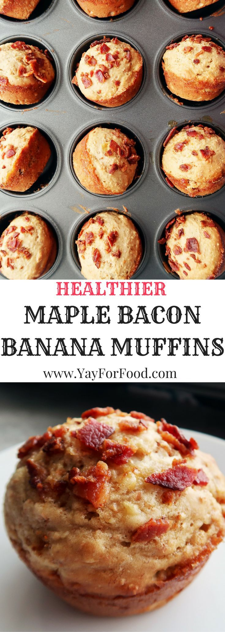 A tasty maple bacon banana breakfast muffin that is sweet and savoury! No butter in this recipe either; making this a healthier muffin option!