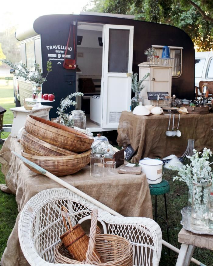 Travelling Wares by Kara Rosenlund: exterior with more wares on tables: Mobiles Shops, Travel Ware, Camping, Caravans Shops, Vintage Caravans, Vintage Shops, Vintage Travel Trailers, Vintage Vans, Black Rosenlund
