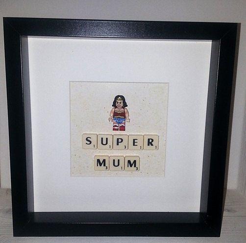 LEGO super-héros figurine et photo frame, caisson, marvel, bande dessinée, maman, cadeau de hipster,