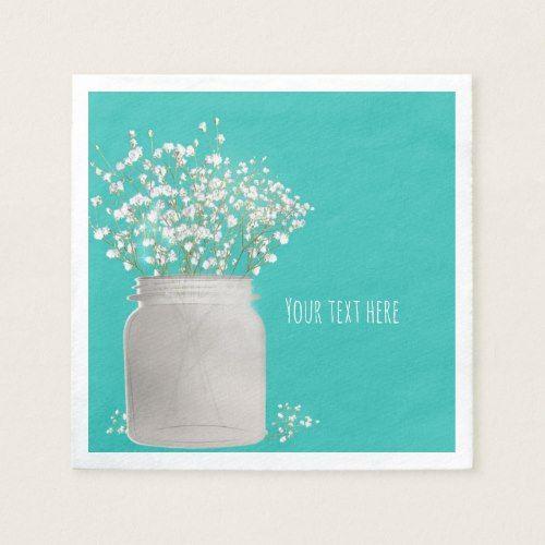 Turquoise Bridal Shower Mason Jar & Babys Breath Paper Napkin