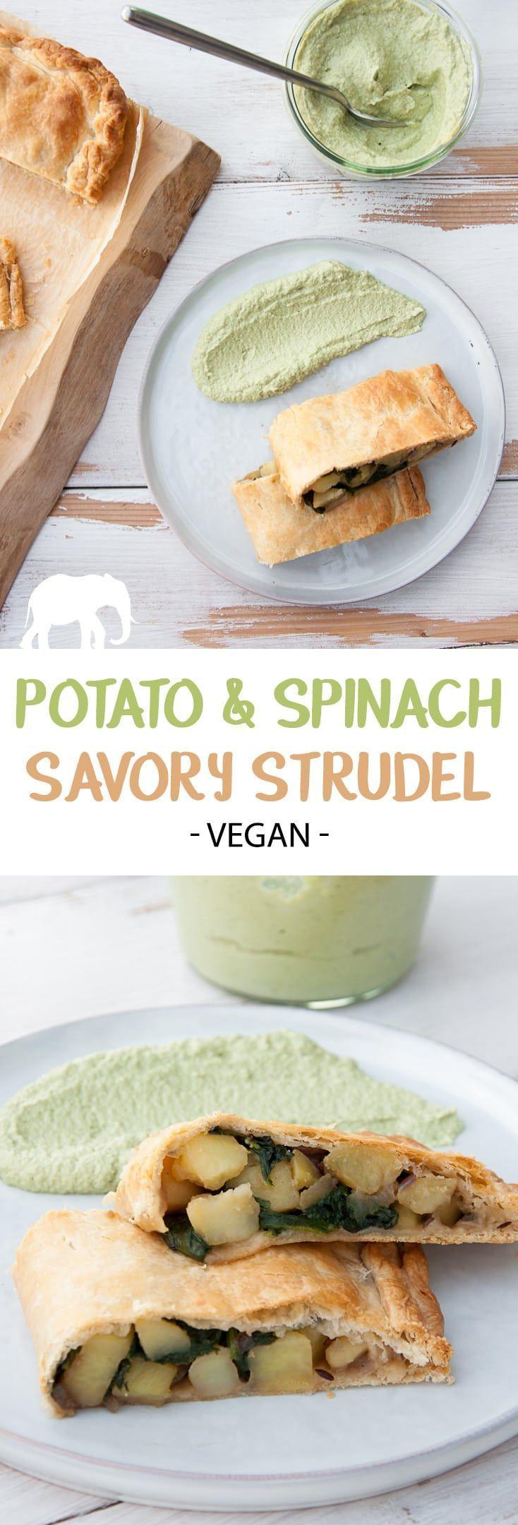 Potato & Spinach Savory Strudel #vegan #potato #spinach #strudel #savory via @elephantasticv
