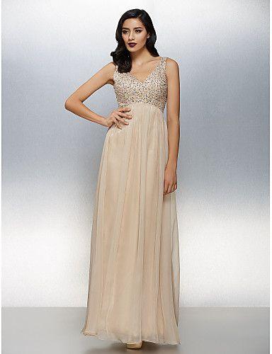 Corte en A Cuello en V Hasta el Suelo Raso Evento Formal Vestido con Cuentas por TS Couture®