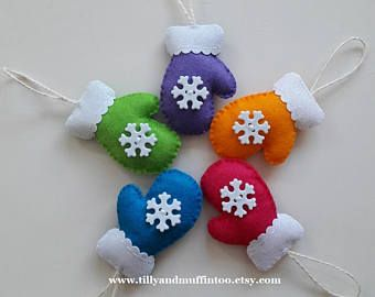 Set of 5 Brightly Coloured Felt Snowflake Mitten Christmas Ornament/Decorations.Snowflake Mitten Ornaments/Decrations.Multi Coloured Mittens