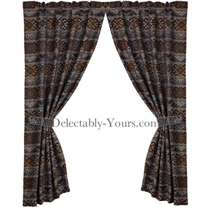Rio Grande Southwestern Curtain Panels With Tiebacks Southwestern Curtains And Chenille Fabric