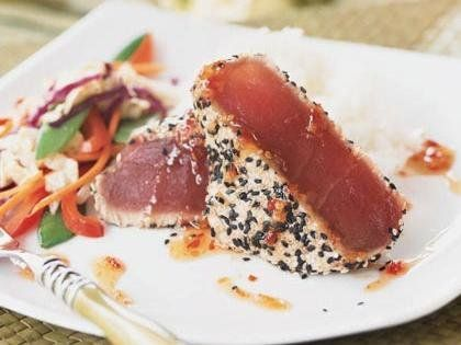 Sesame-crusted Tuna with Teriyaki Stir-Fry #recipes #omega3 #healthy