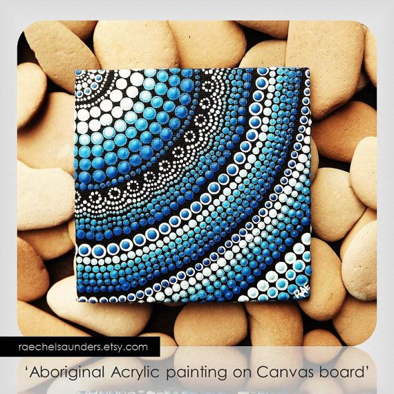 Water Art Aboriginal Dot Art Hand Painted by RaechelSaunders, $20.00