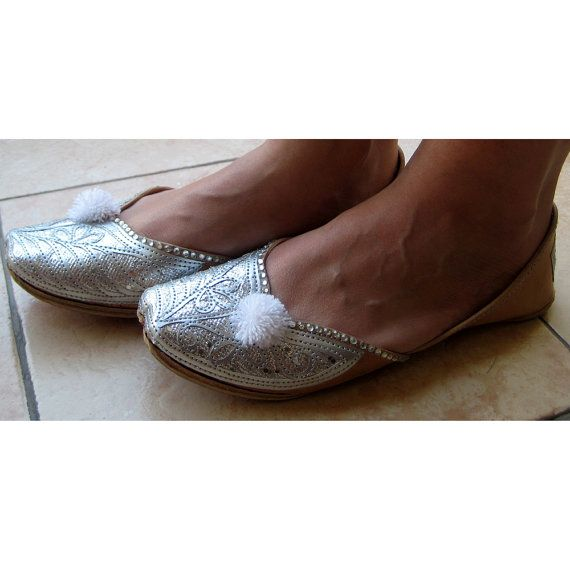 Silver Bridal Ballet Flats/ Wedding Shoes/ Handmade Indian Designer Women Shoes or Slippers/Sequins Shoes/Maharaja Style Women Jooties