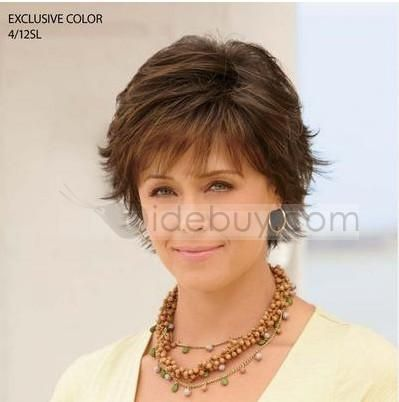 Mother Of The Bride Short Hairstyles | Custom Exquisite Women's Hairstyle Short Straight about 6Inches Light ...