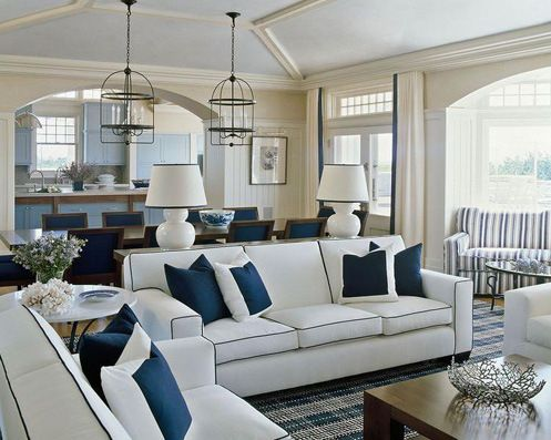 Cream White Navy Blue Naturical Style Living Room