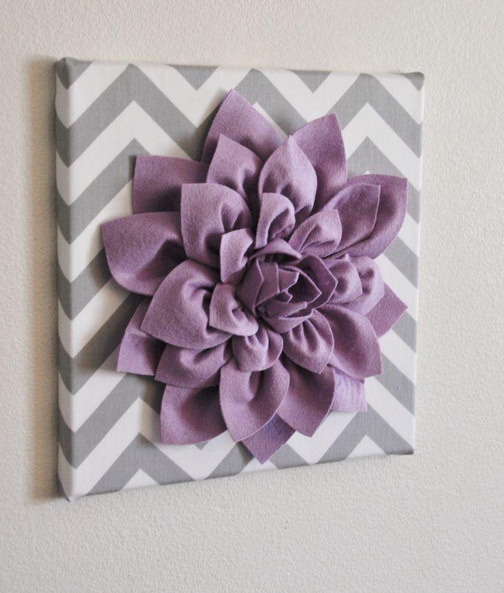 "Wall Flower -Lilac Dahlia on Gray and White Chevron 12 x12"" Canvas Wall Art- Baby Nursery Wall Decor-. $34.00, via Etsy."