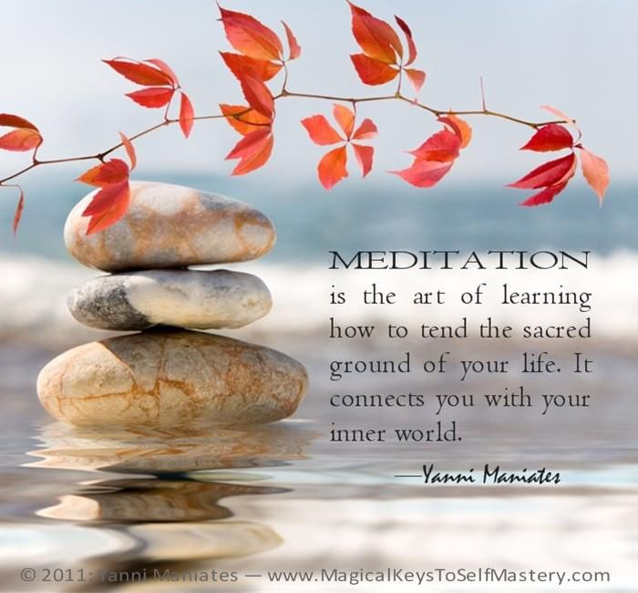 """""""Meditation is the art of learning how to tend the sacred ground of your life. It connects you with your inner world""""."""
